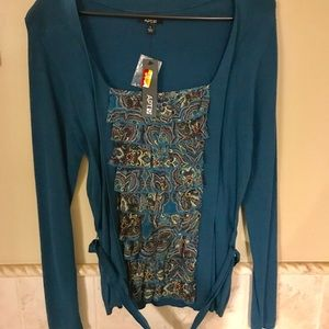 Cardigan with built-in tank